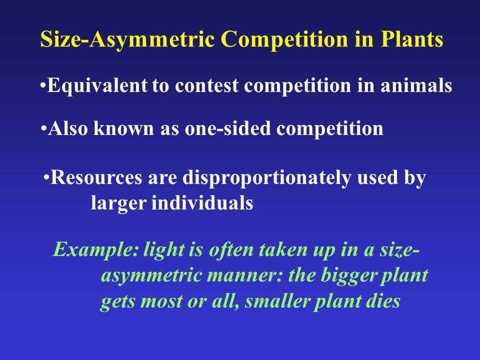 Size-Asymmetric Competition in Plants