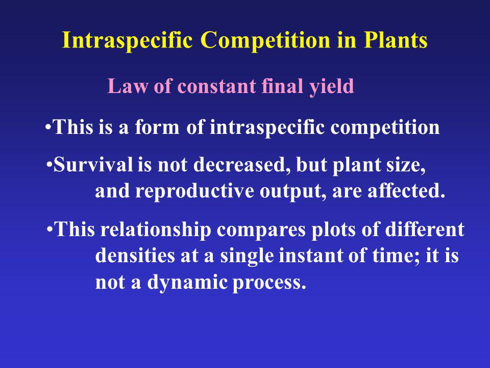 Intraspecific Competition in Plants