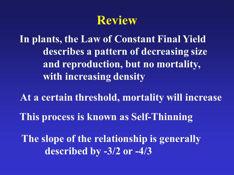 Review In plants, the Law of Constant Final Yield