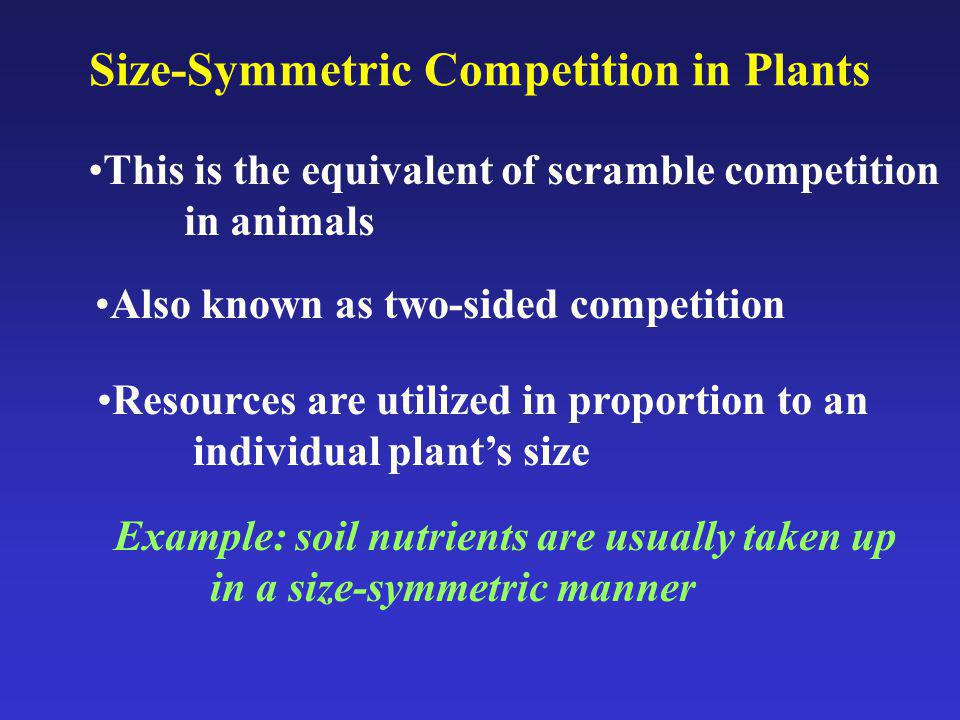 Size-Symmetric Competition in Plants