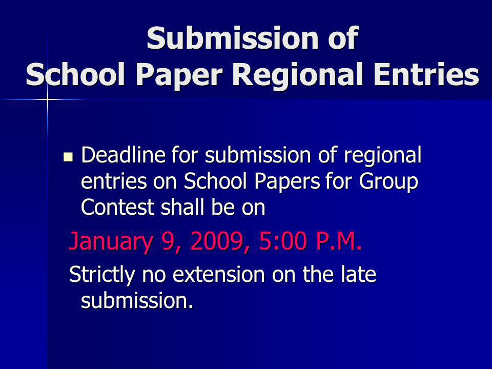 Submission of School Paper Regional Entries
