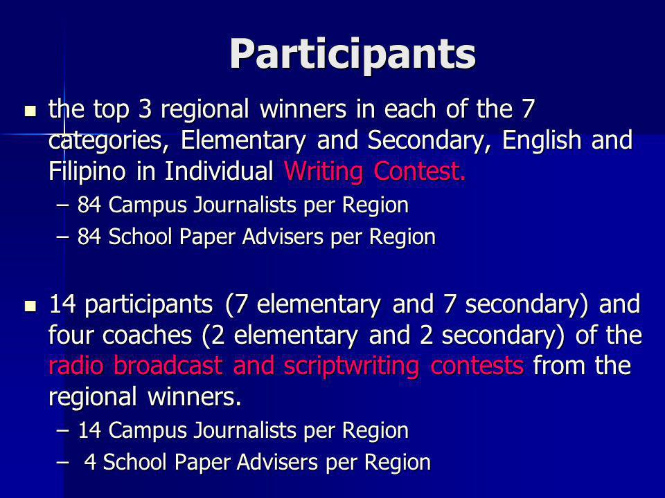 Participants the top 3 regional winners in each of the 7 categories, Elementary and Secondary, English and Filipino in Individual Writing Contest.