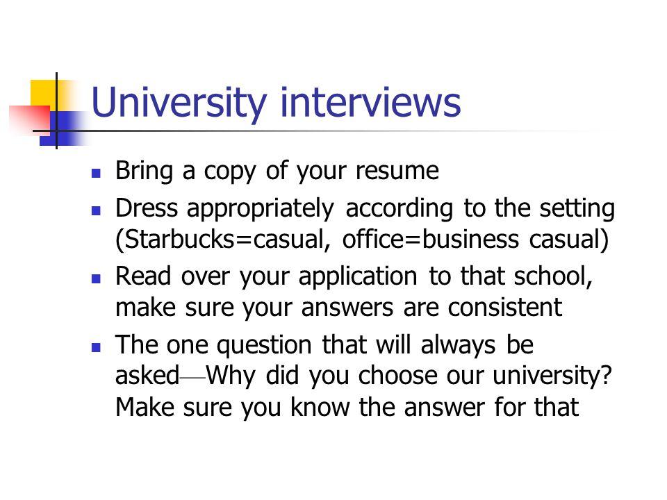 University interviews