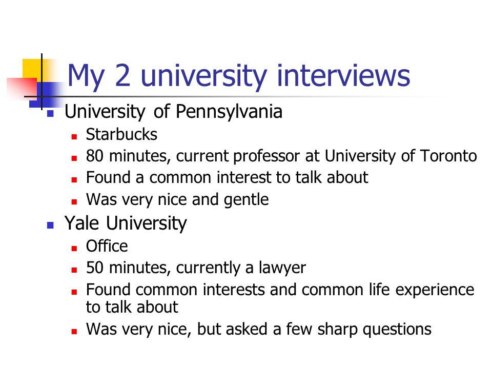 My 2 university interviews
