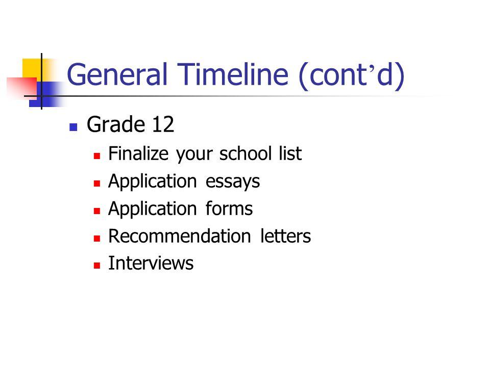 General Timeline (cont'd)
