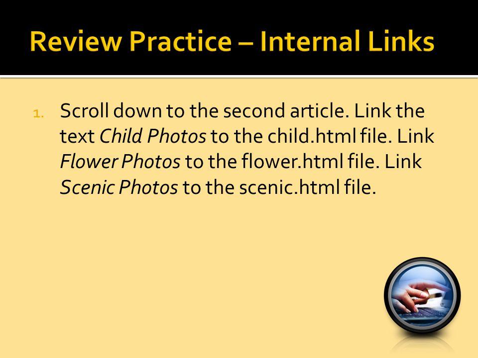 Review Practice – Internal Links