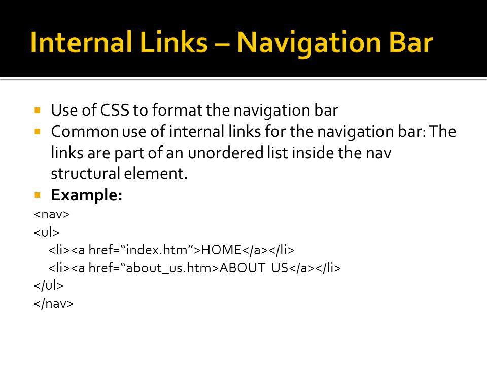 Internal Links – Navigation Bar