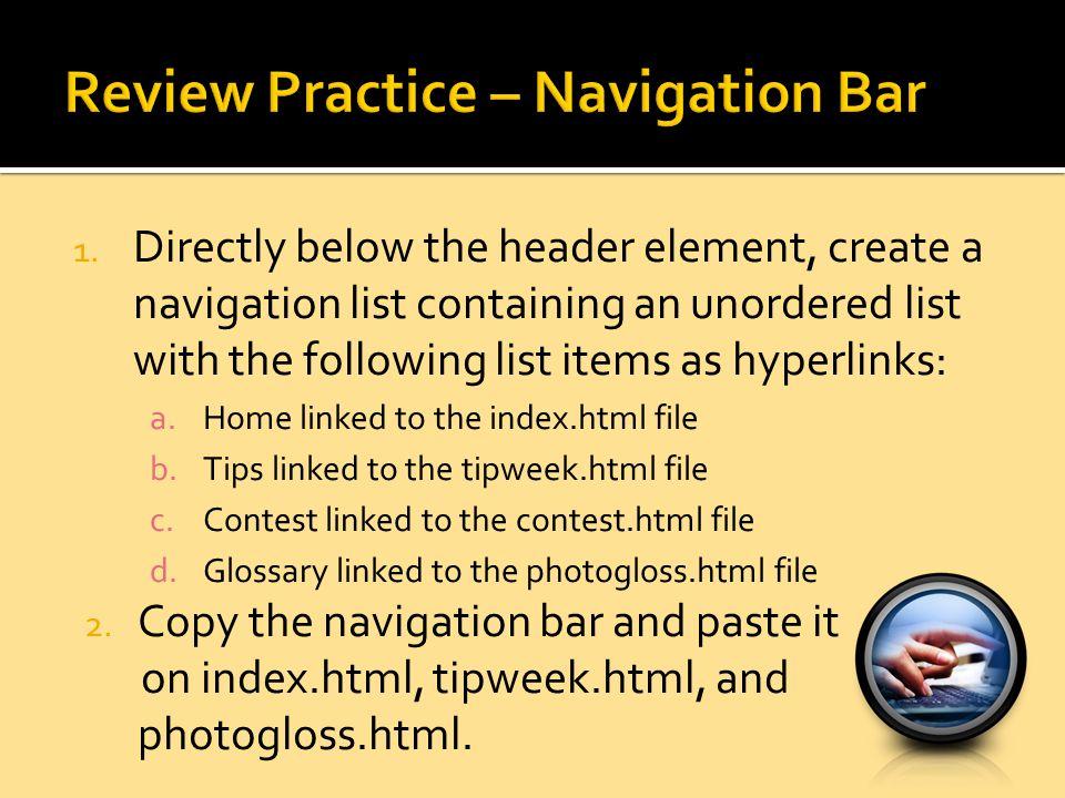 Review Practice – Navigation Bar