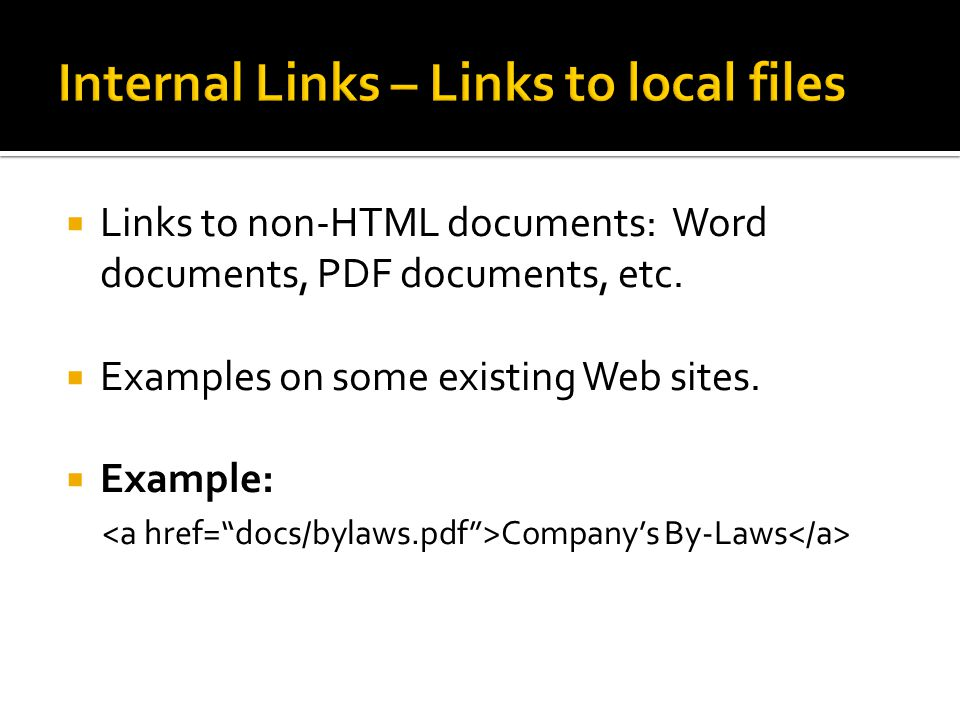 Internal Links – Links to local files