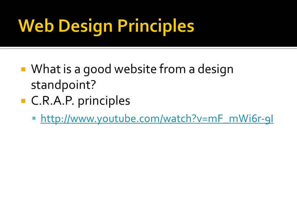 Web Design Principles What is a good website from a design standpoint