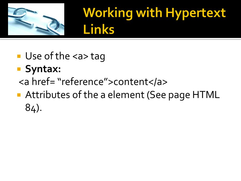 Working with Hypertext Links