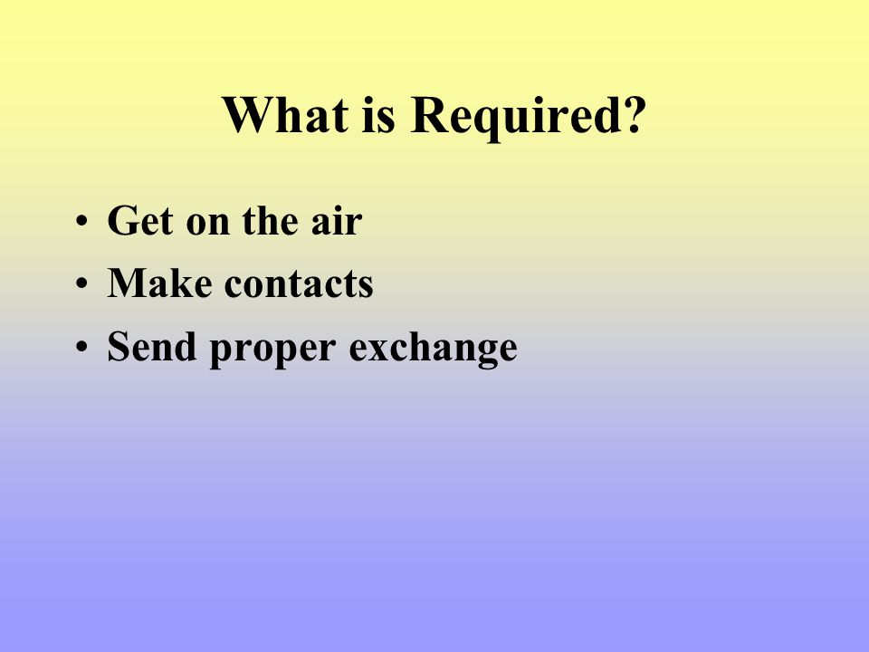 What is Required Get on the air Make contacts Send proper exchange