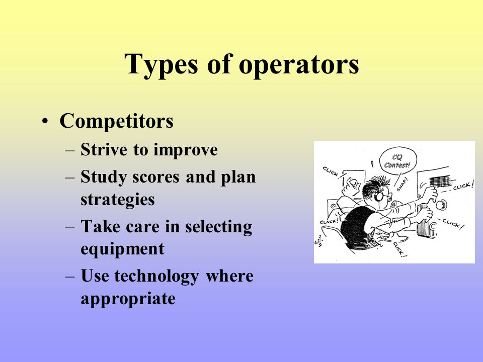 Types of operators Competitors Strive to improve