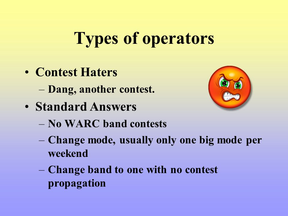 Types of operators Contest Haters Standard Answers