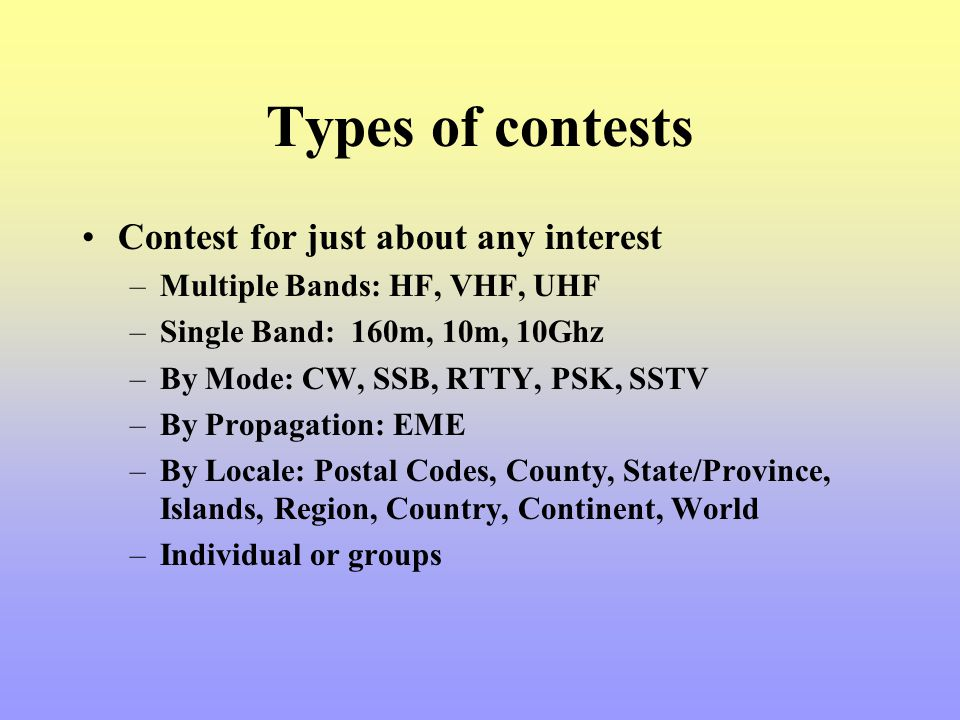 Types of contests Contest for just about any interest