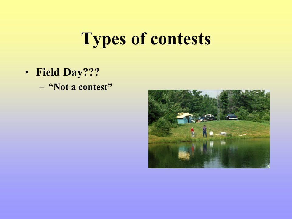 Types of contests Field Day Not a contest