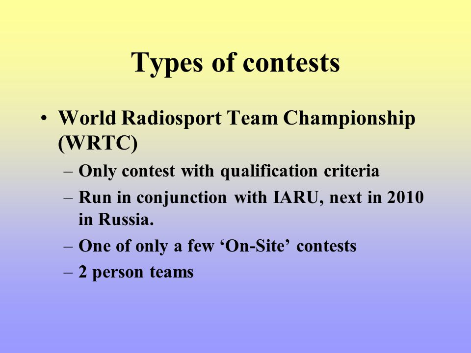 Types of contests World Radiosport Team Championship (WRTC)