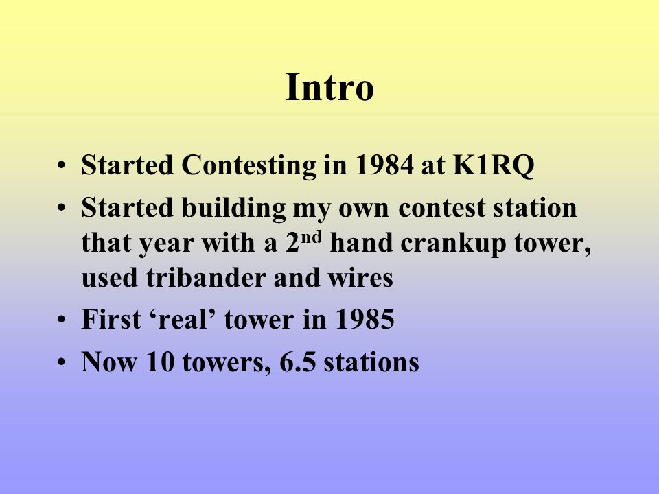Intro Started Contesting in 1984 at K1RQ