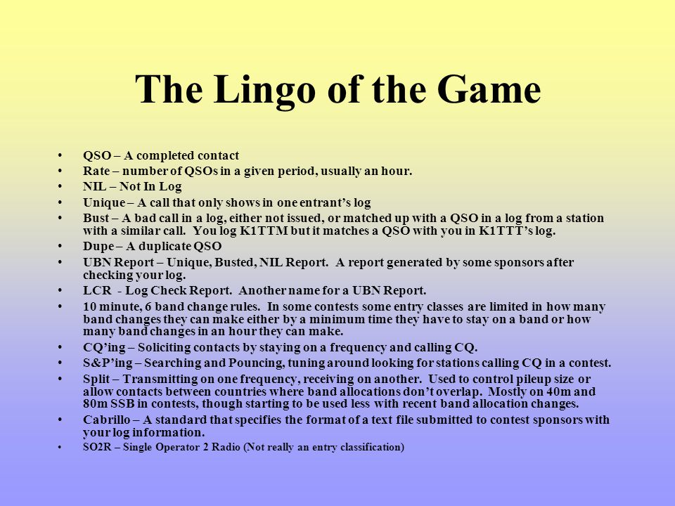 The Lingo of the Game QSO – A completed contact