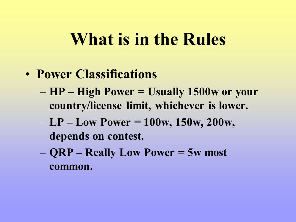 What is in the Rules Power Classifications