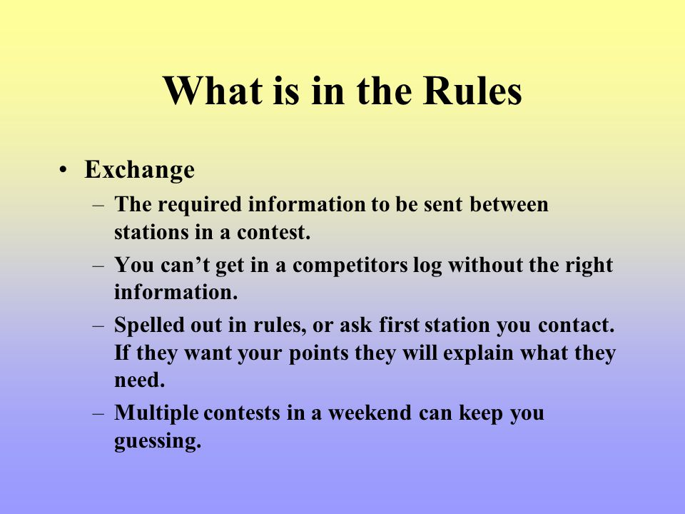What is in the Rules Exchange