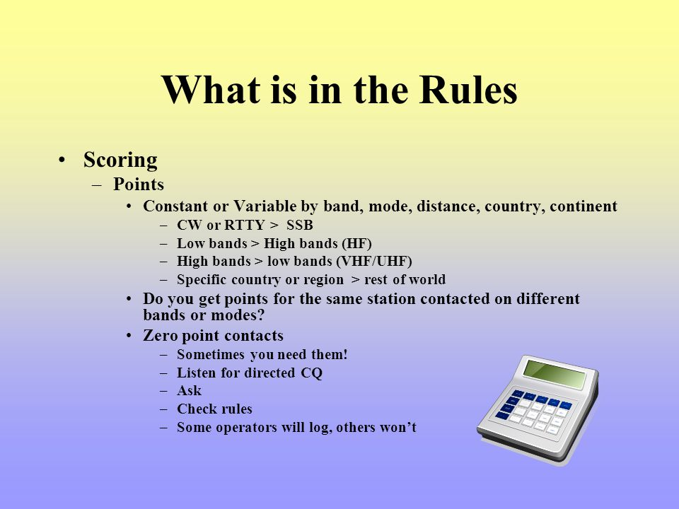 What is in the Rules Scoring Points