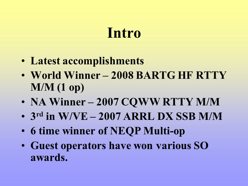 Intro Latest accomplishments