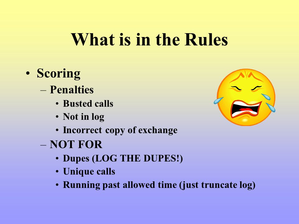What is in the Rules Scoring Penalties NOT FOR Busted calls Not in log