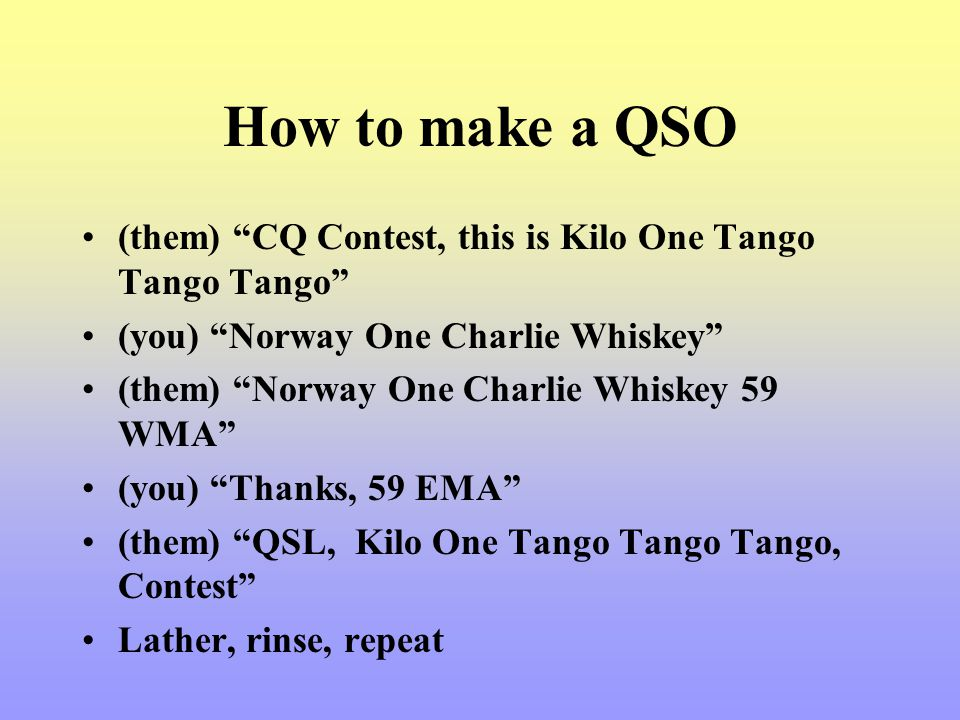 How to make a QSO (them) CQ Contest, this is Kilo One Tango Tango Tango (you) Norway One Charlie Whiskey