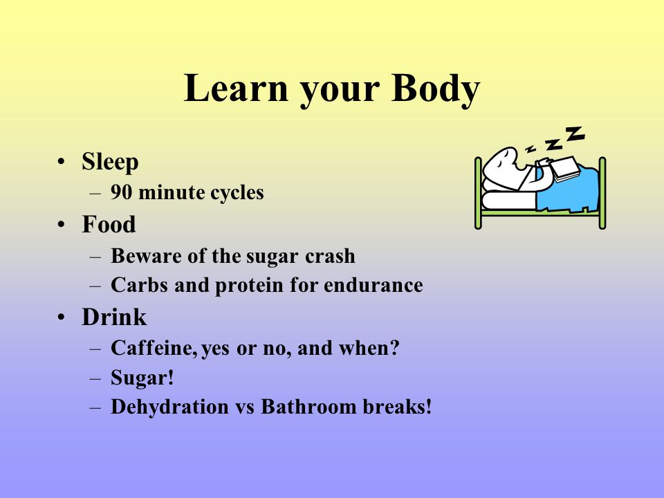 Learn your Body Sleep Food Drink 90 minute cycles