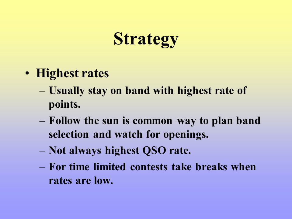 Strategy Highest rates