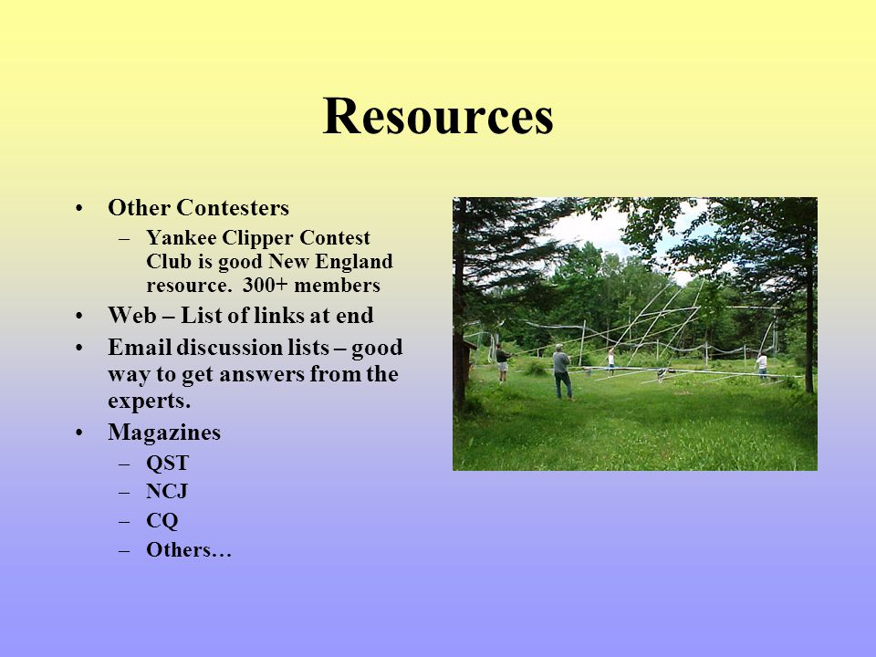 Resources Other Contesters Web – List of links at end