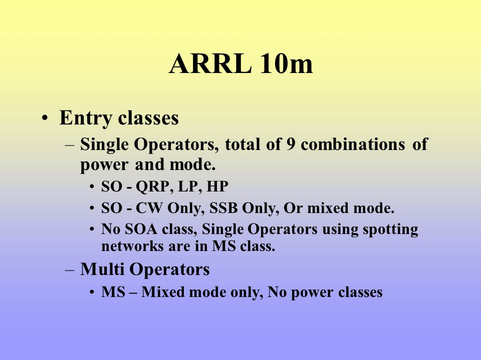 ARRL 10m Entry classes. Single Operators, total of 9 combinations of power and mode. SO - QRP, LP, HP.