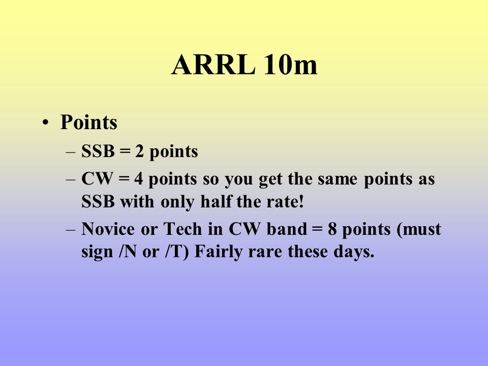 ARRL 10m Points SSB = 2 points