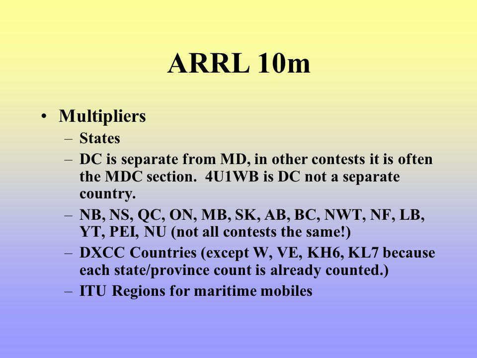 ARRL 10m Multipliers States