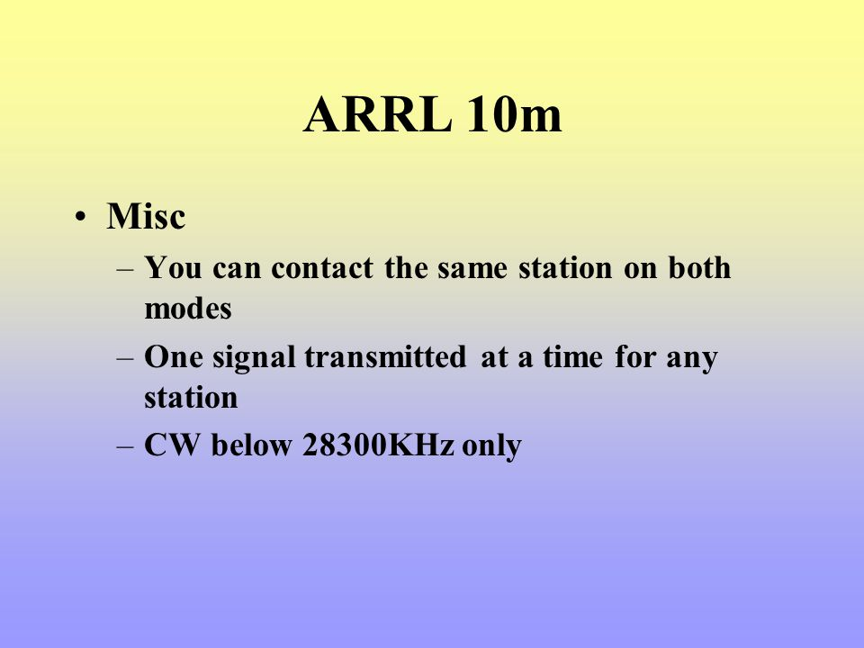 ARRL 10m Misc You can contact the same station on both modes