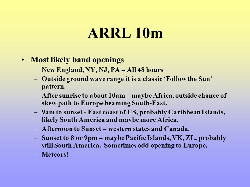 ARRL 10m Most likely band openings