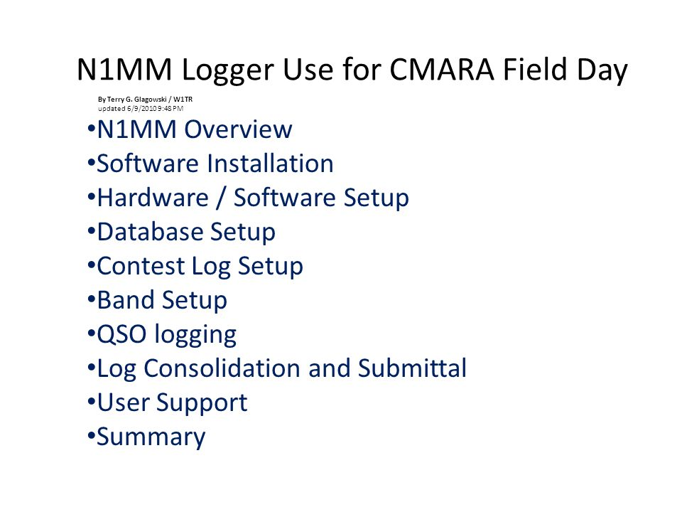 N1MM Logger Use for CMARA Field Day