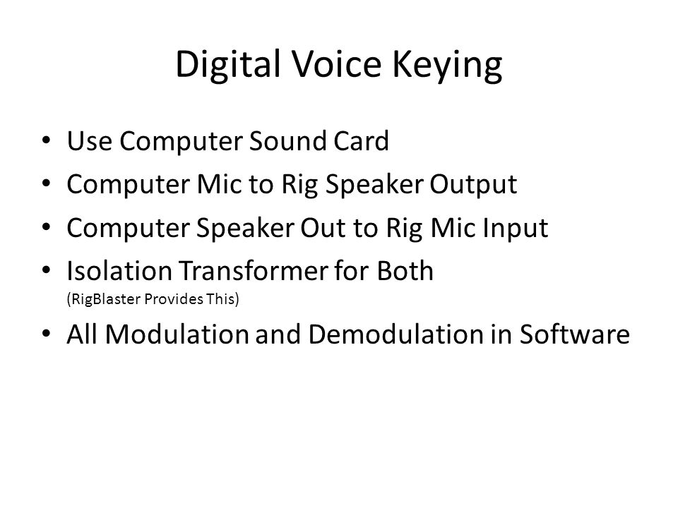 Digital Voice Keying Use Computer Sound Card