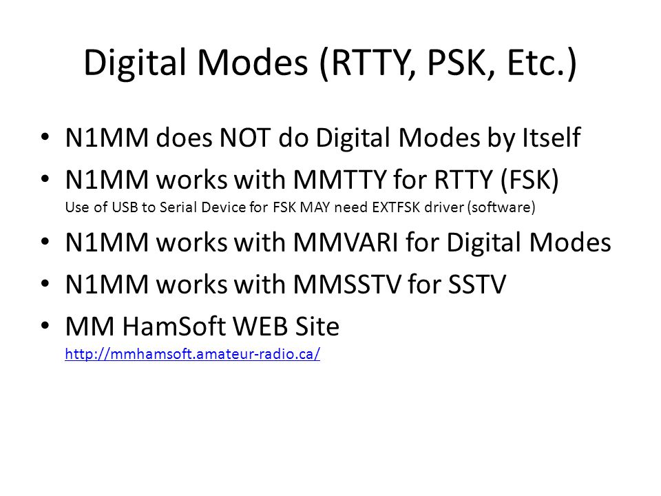 Digital Modes (RTTY, PSK, Etc.)