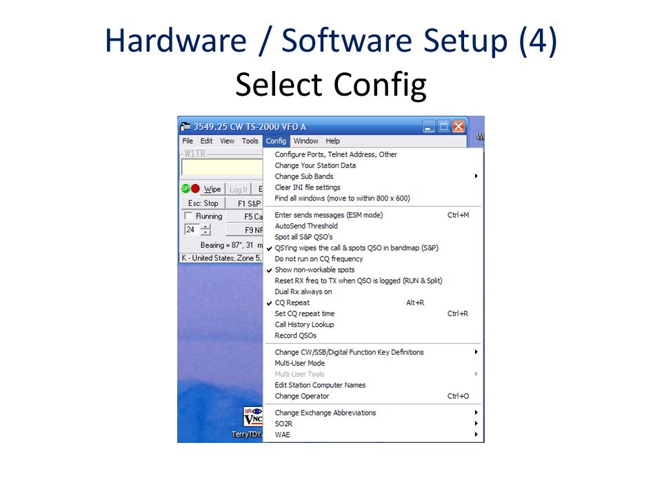 Hardware / Software Setup (4) Select Config
