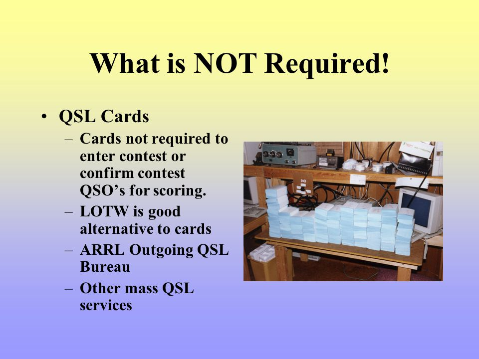 What is NOT Required! QSL Cards