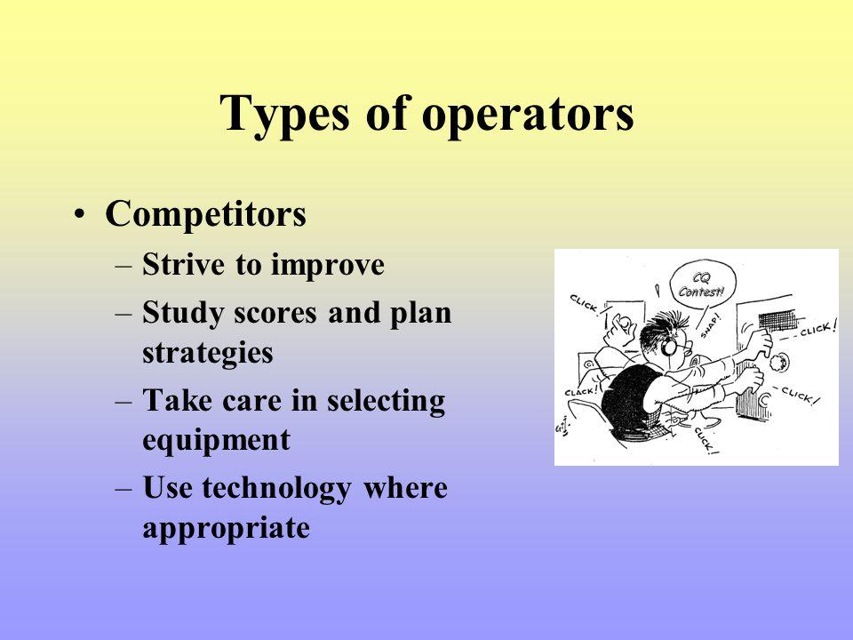 Types of operators Competitors Strive to improve