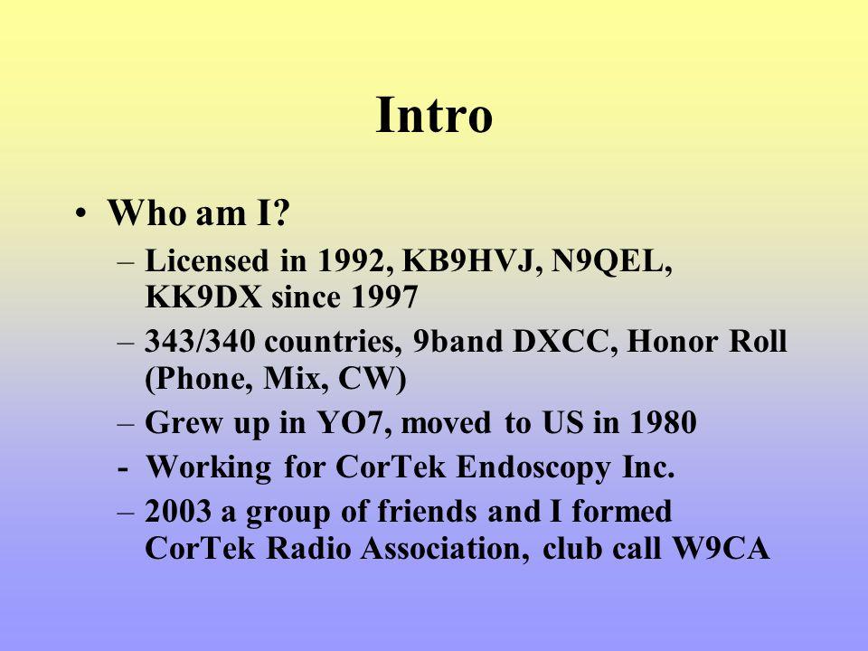 Intro Who am I Licensed in 1992, KB9HVJ, N9QEL, KK9DX since 1997