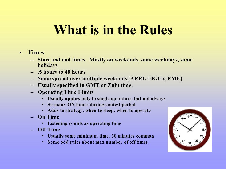 What is in the Rules Times