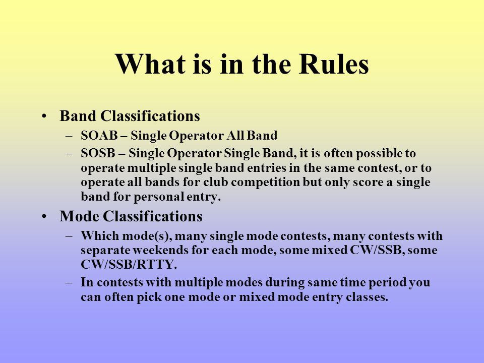 What is in the Rules Band Classifications Mode Classifications