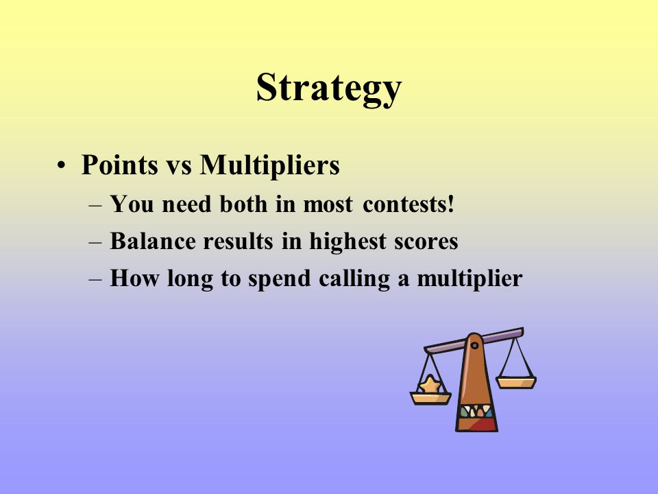 Strategy Points vs Multipliers You need both in most contests!