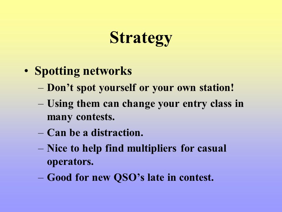 Strategy Spotting networks Don't spot yourself or your own station!
