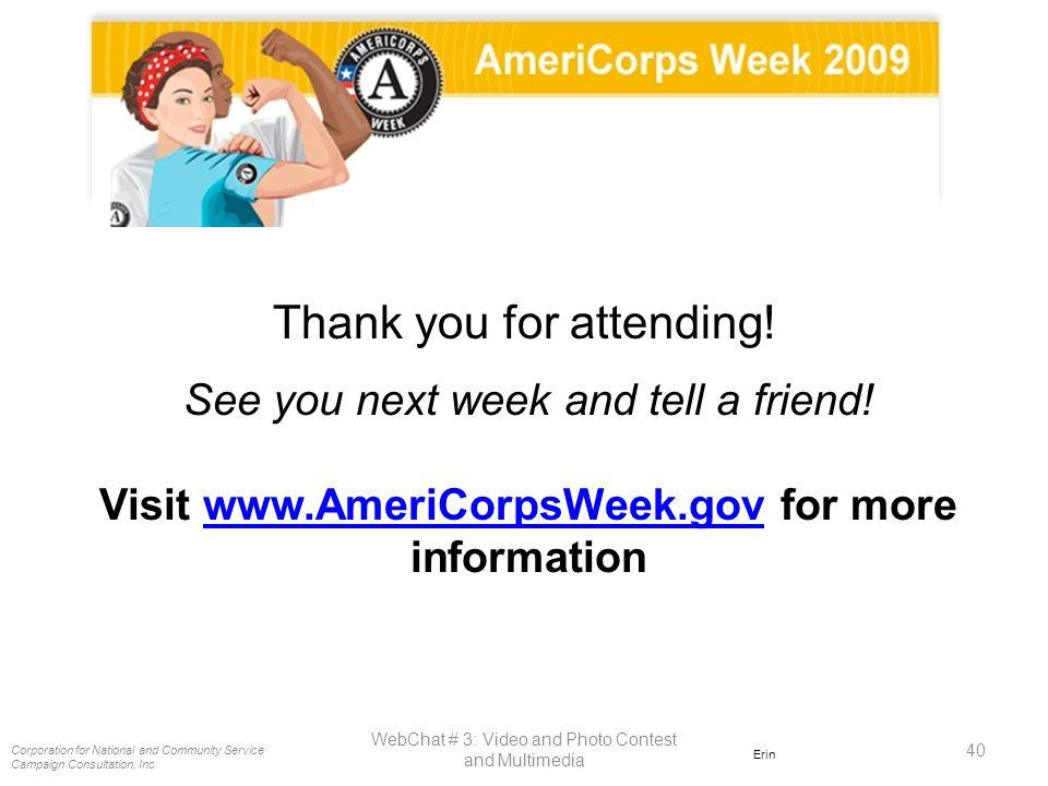 Visit www.AmeriCorpsWeek.gov for more information