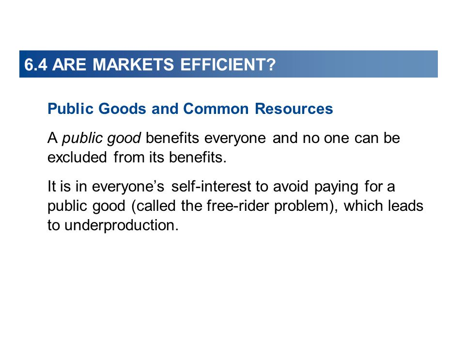 6.4 ARE MARKETS EFFICIENT Public Goods and Common Resources